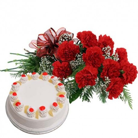 Ten Carnations and Round Pineapple Cake For Your Sweet Heart