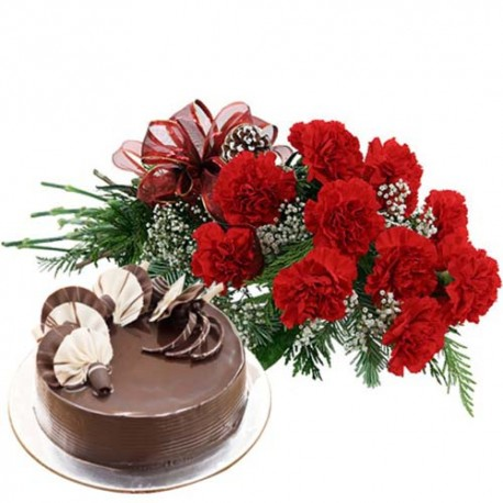 Valentine Gift Touch With Ten Red Carnations Bunch and Eggless Chocolate Cake