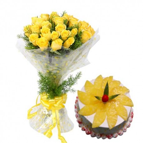 Special Love Whisper with Yellow Roses and Eggless Pineapple Cake