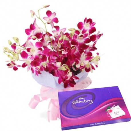 Orchids Charming Beauty with Cadbury Celebrations For Special Ones