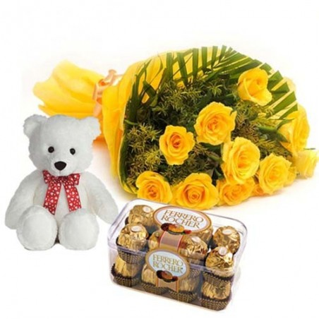 Ferrero Rocher Chocolate with Teddy and Yellow Roses Bouquet For My Love
