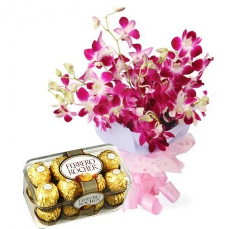 Valentine Hamper for your Queen Including Purple Orchids and Ferrero Rocher Chocolates