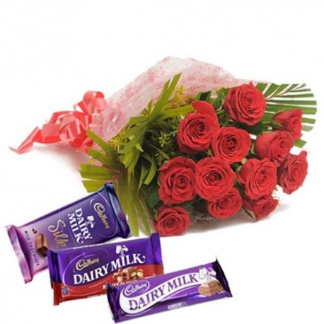Valentine Hamper for your King Including Dozen Roses With Dairymilk Chocolate Bars