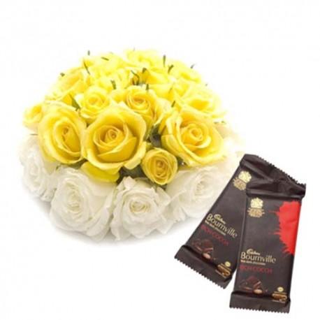 Twenty Mix Roses with Dark Bournville Chocolates