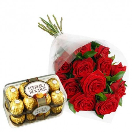 Red Roses Bunch And 16 Pcs Ferrero Rocher Chocolates For Perfect Love