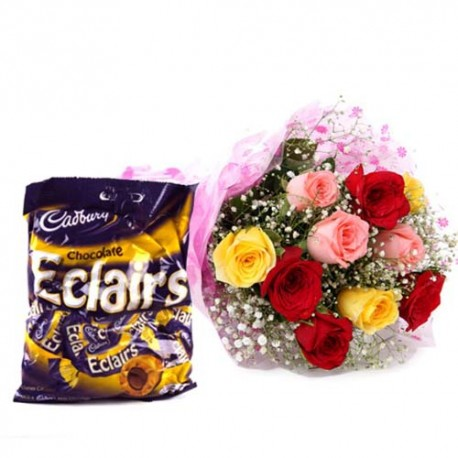Eternal love Expressing Hamper of Ten Multi Color Roses with Eclairs Toffee