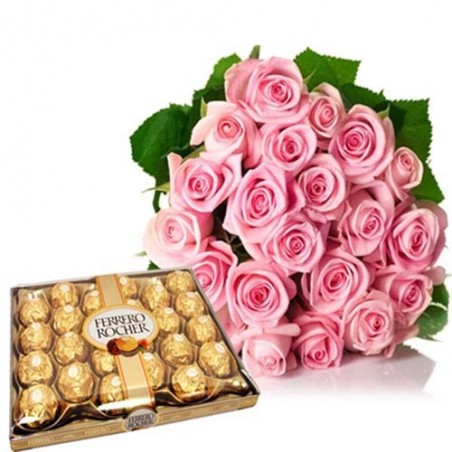 24 Pcs Ferrero Rocher With Pink Roses Bouquet