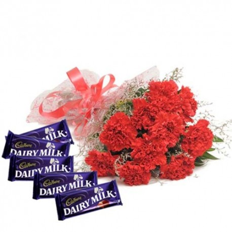 Red Color Carnations Bouquet With Dairymilk Chocolates