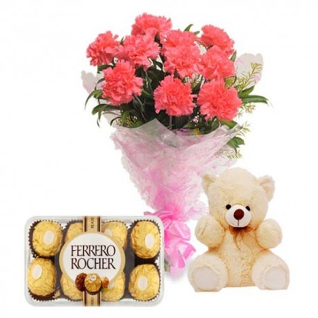 Teddy Love And Perfect Pink Carnations With 16 Pcs Ferrero Rocher Chocolates