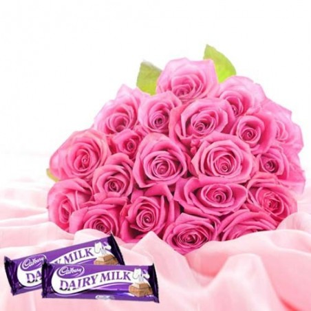 Pampering Love Token With Twenty Two Pink Roses And Dairymilk Chocolates