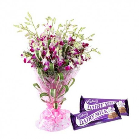 Orchids Bouquet And Dairymilk Chocolates For Your Valentine