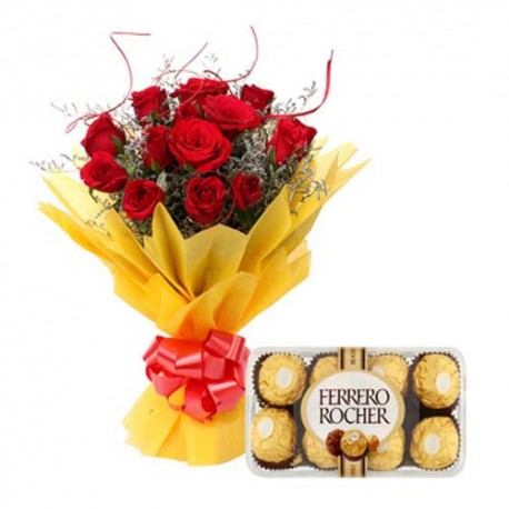 Valentine Roses Bouquet With Ferrero Rocher Box