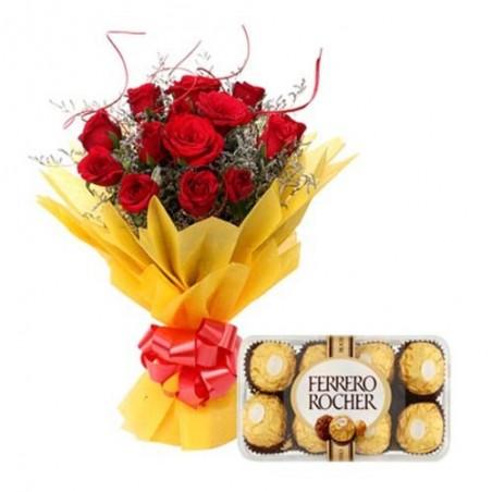 Valentine Roses Bouquet With Ferrero Rocher Box