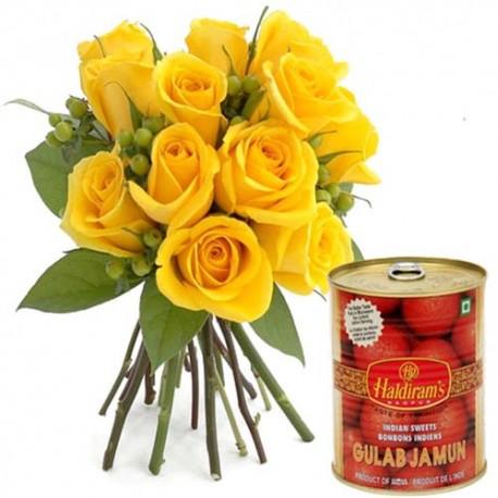 Gulab Jamun With Yellow Roses