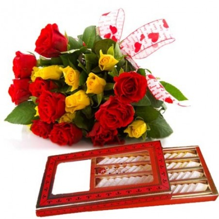 Valentine Royal Treat With Kaju Sweets And Roses