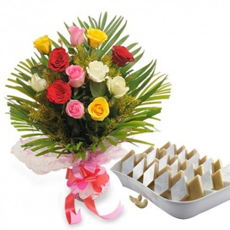 Sweet Wishes Hamper of Kaju Sweets with Dozen Roses