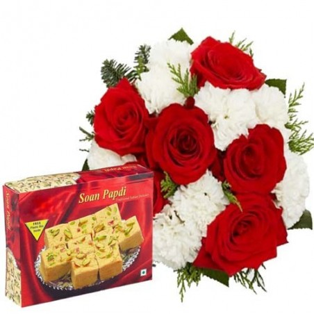 One Kg Soan Papdi And Flowers Bouquet