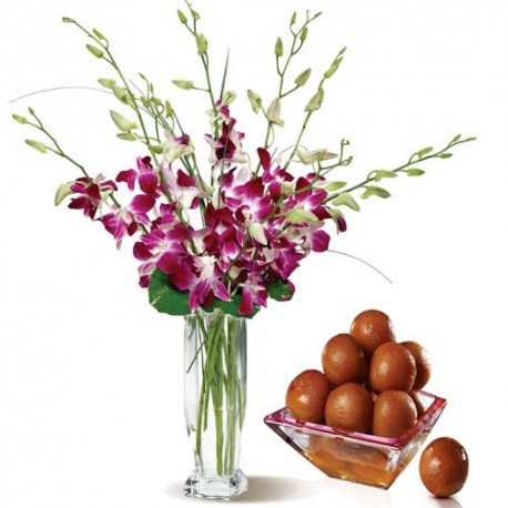 Say Love You With Gift Combo of Orchids Vase With Gulab jamun