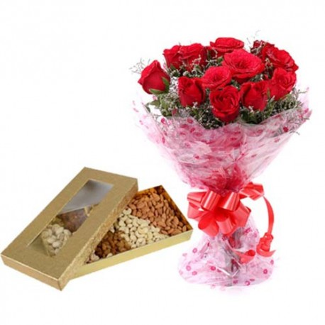 Assorted Dryfruit Box With Roses Bunch