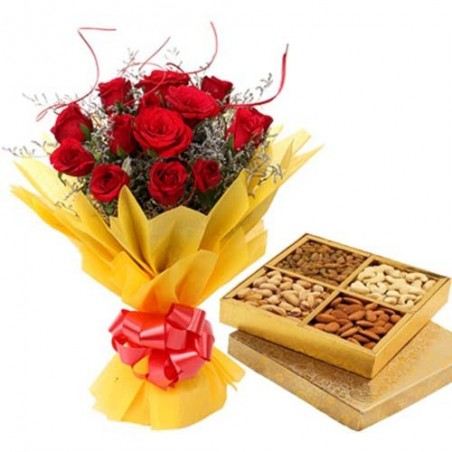 Happiest Love Pack of Roses And Dryfruit Gifts