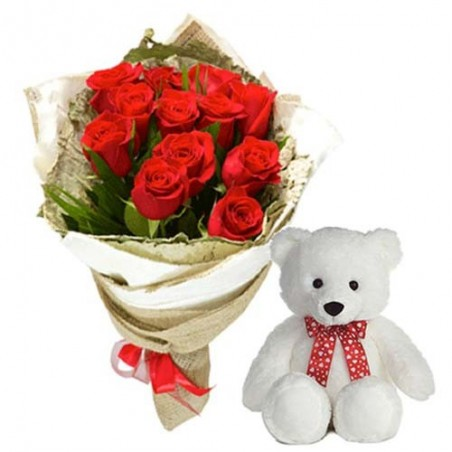 Teddy Bear With Roses Bunch