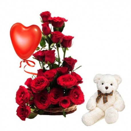 Valentine Basket of Roses Arrangement With Balloon And Teddy Bear