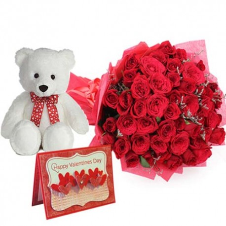Bouquet of Roses and Cute Teddy with Valentine Greening Card