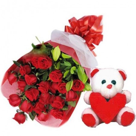 Bunch of Twenty Roses with cute Teddy for Love
