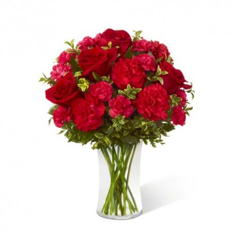 Red Carnations in a Glass Vase for Valentine