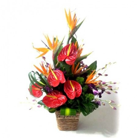Basket of Exotic Flowers For Love