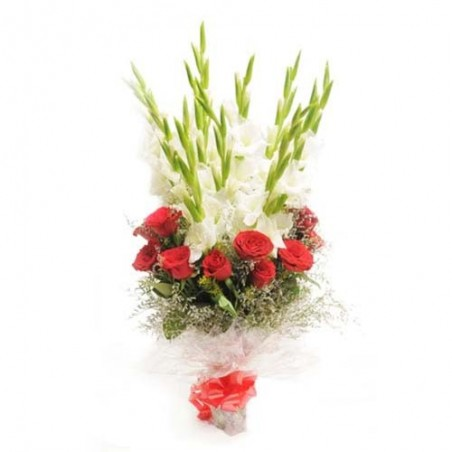 Bouquet of Red and White Flowers for Valentine