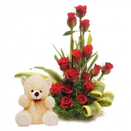 Arrangement of Fifteen Red Roses with Cute Teddy