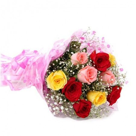 Twelve Mix Roses Bunch for Valentine