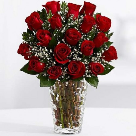 Valentine Gifts of 75 Red Roses In Vase