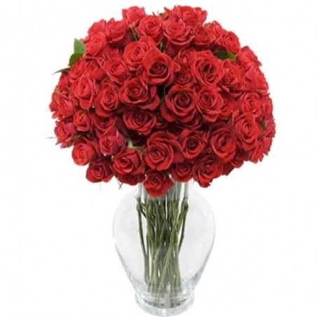 Valentine Bouquet of 50 Red Romantic Roses