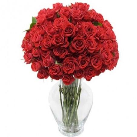 Valentine Bouquet of 50 Red Romantic Roses