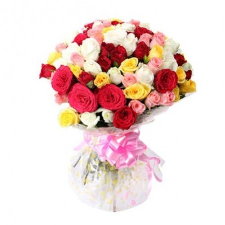 Multi colour roses For Valentine Day