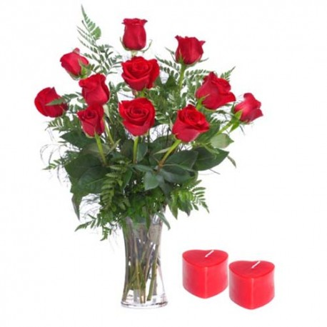 Dozen Red Roses Hand Tied Bunch For Valentine Day