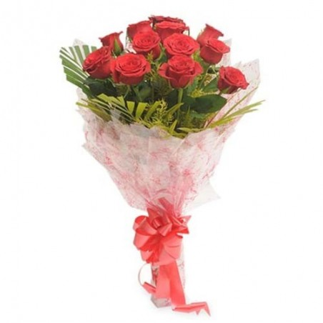 Bunch of Twenty Red Roses with Valentine Greeting Card