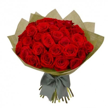 Hand Bouquet of 50 Red Roses For Valentine Day