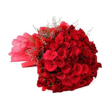 Bouquet of 50 Red Roses For Valentine Day