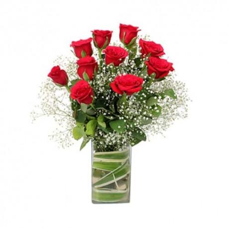 Valentine Vase Arrangement of 18 Romantic Red Roses