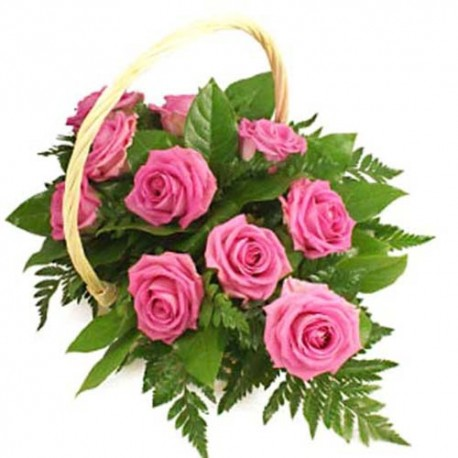 12 Pink Roses Basket Arrangement.
