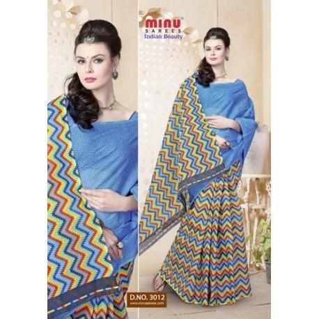 Blue cotton printed saree