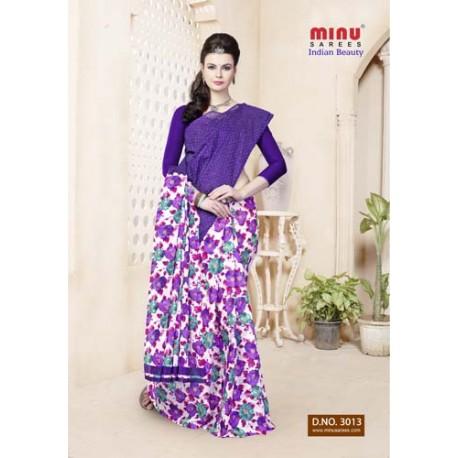 Purple cotton printed saree