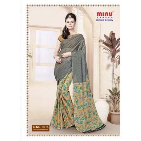 Grey cotton printed saree