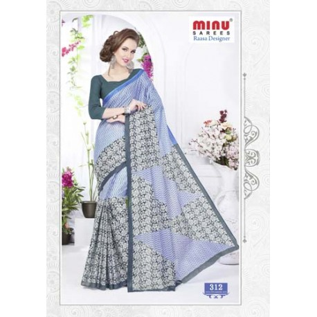 Grey Blue cotton printed saree