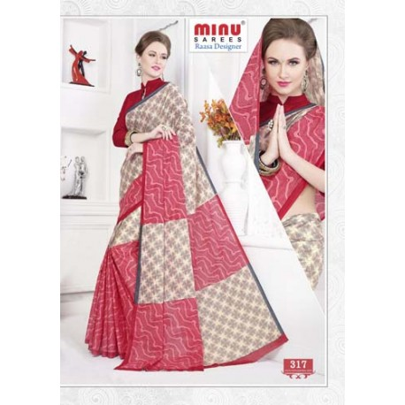 Beige & salmon cotton printed saree