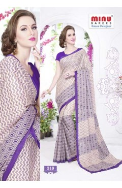 Beige & Voilet cotton printed saree