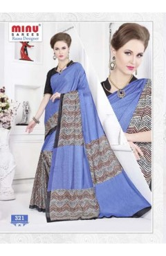 Blue cotton printed saree